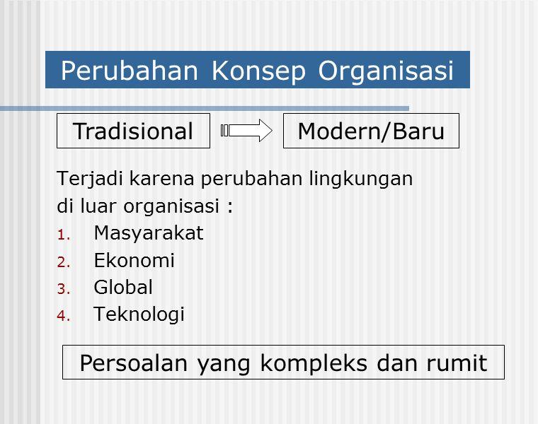 Perubahan Konsep Organisasi Terjadi karena perubahan lingkungan di luar organisasi : 1. Masyarakat 2. Ekonomi 3. Global 4. Teknologi TradisionalModern