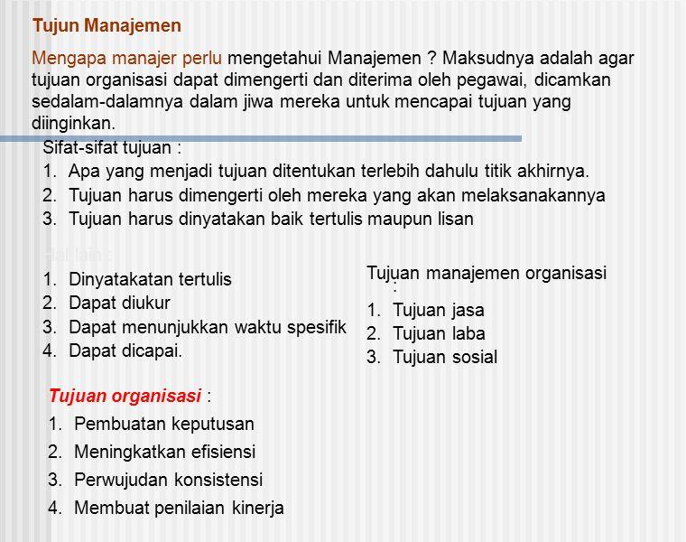 Tujun Manajemen Mengapa manajer perlu mengetahui Manajemen ? Maksudnya adalah agar tujuan organisasi dapat dimengerti dan diterima oleh pegawai, dicam