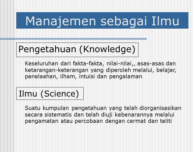 Manajemen sebagai Ilmu Pengetahuan (Knowledge) Ilmu (Science) Keseluruhan dari fakta-fakta, nilai-nilai,, asas-asas dan ketarangan-keterangan yang diperoleh melalui, belajar, penelaahan, ilham, intuisi dan pengalaman Suatu kumpulan pengetahuan yang telah diorganisasikan secara sistematis dan telah diuji kebenarannya melalui pengamatan atau percobaan dengan cermat dan teliti