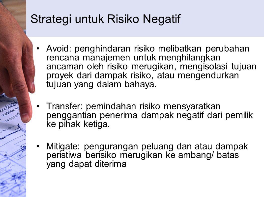 Strategi untuk Risiko Negatif Avoid: penghindaran risiko melibatkan perubahan rencana manajemen untuk menghilangkan ancaman oleh risiko merugikan, mengisolasi tujuan proyek dari dampak risiko, atau mengendurkan tujuan yang dalam bahaya.
