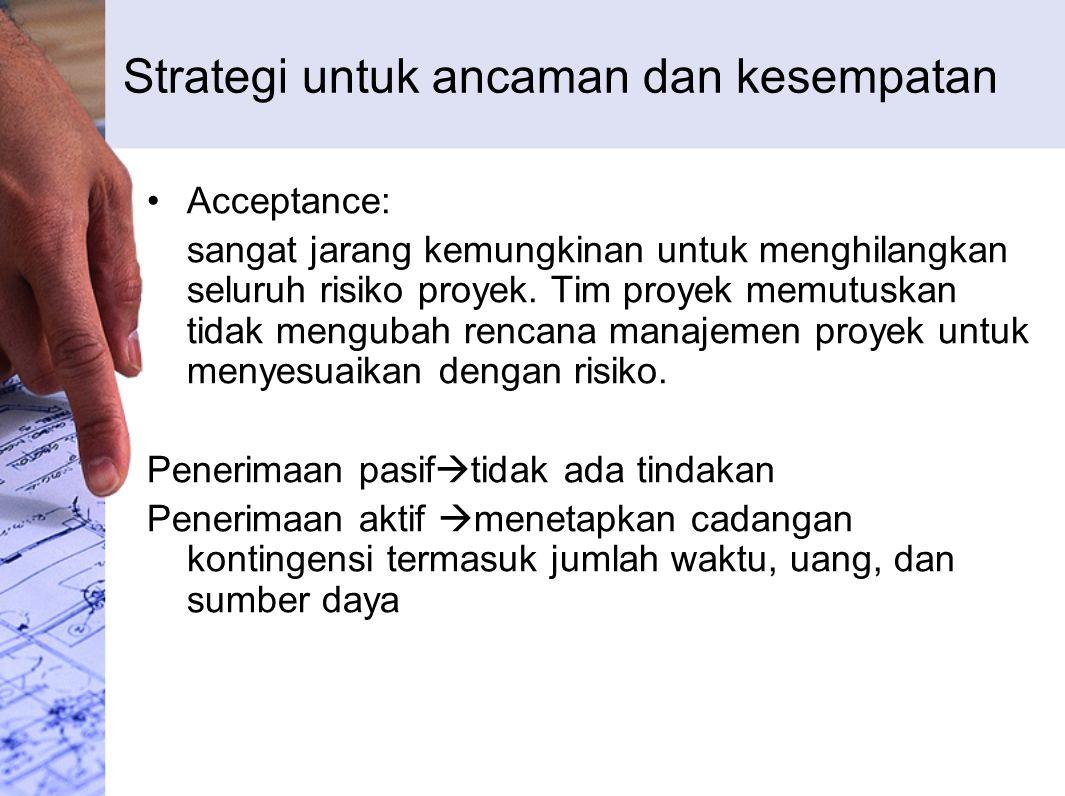 Strategi untuk ancaman dan kesempatan Acceptance: sangat jarang kemungkinan untuk menghilangkan seluruh risiko proyek.