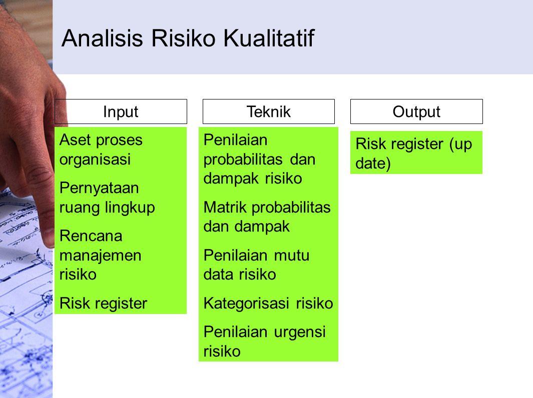 Analisis Risiko Kualitatif InputTeknikOutput Aset proses organisasi Pernyataan ruang lingkup Rencana manajemen risiko Risk register Penilaian probabilitas dan dampak risiko Matrik probabilitas dan dampak Penilaian mutu data risiko Kategorisasi risiko Penilaian urgensi risiko Risk register (up date)