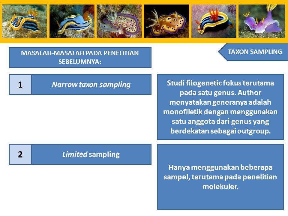 TAXON SAMPLING MASALAH-MASALAH PADA PENELITIAN SEBELUMNYA: 1 Narrow taxon sampling Studi filogenetic fokus terutama pada satu genus. Author menyatakan