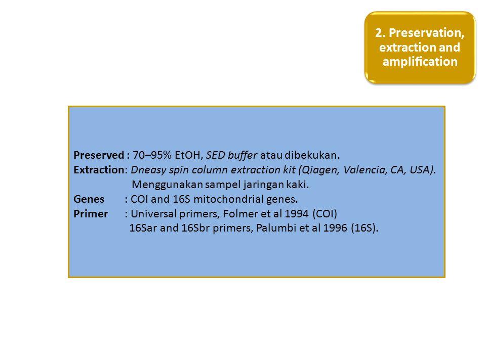 Preserved : 70–95% EtOH, SED buffer atau dibekukan. Extraction: Dneasy spin column extraction kit (Qiagen, Valencia, CA, USA). Menggunakan sampel jari