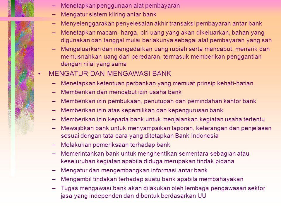 TUGAS BANK INDONESIA MENETAPKAN DAN MELAKSANAKAN KEBIJAKAN MONETER –Menetapkan sasaran-sasaran moneter dengan memperhatikan sasaran laju inflasi yang