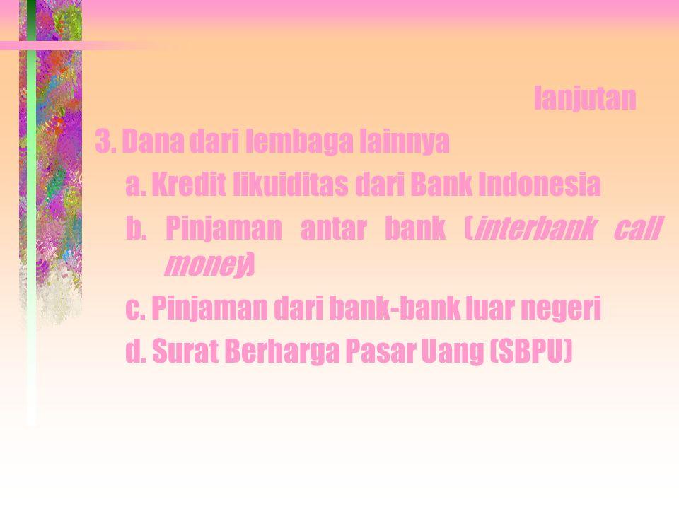 SUMBER-SUMBER DANA BANK Adalah usaha bank dalam menghimpun dana untuk membiayai operasinya Sumber-sumber dana: 1.Dana dari bank itu sendiri > Setoran modal dari pemegang saham.