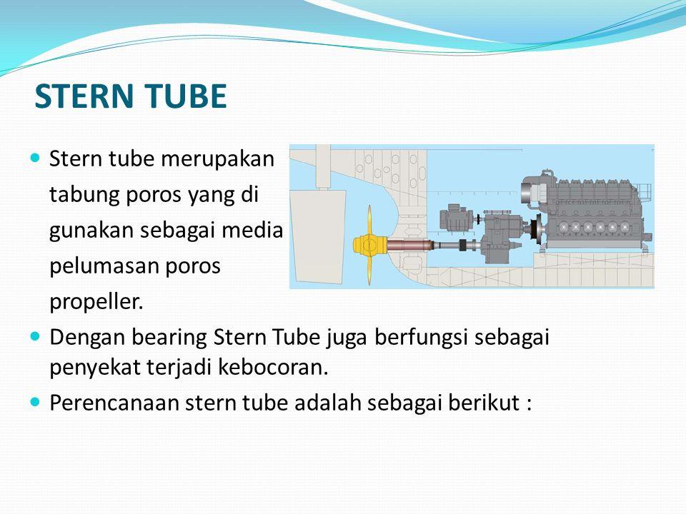 STERN TUBE B.Panjang stern tube (Ls) : Panjang stern tube disesuaikan dengan jarak antara stern post dengan sekat belakang kamar mesin dalam hal ini diperoleh berdasarkan jarak gading yaitu 600 mm sehingga diperoleh : Ls = 6 * jarak gading A.Jenis Pelumasan : Jenis pelumasan menyebabkan adanya perbedaan penutup stern tube dibuat dari bahan yang berbeda (kayu/ karet)
