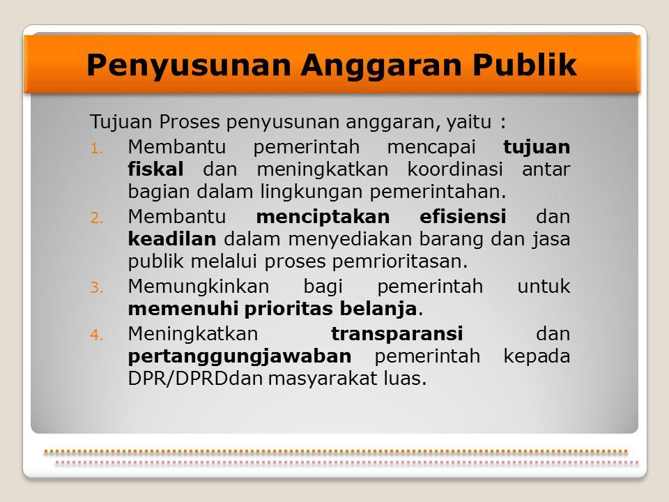 Tujuan Proses penyusunan anggaran, yaitu : 1. Membantu pemerintah mencapai tujuan fiskal dan meningkatkan koordinasi antar bagian dalam lingkungan pem