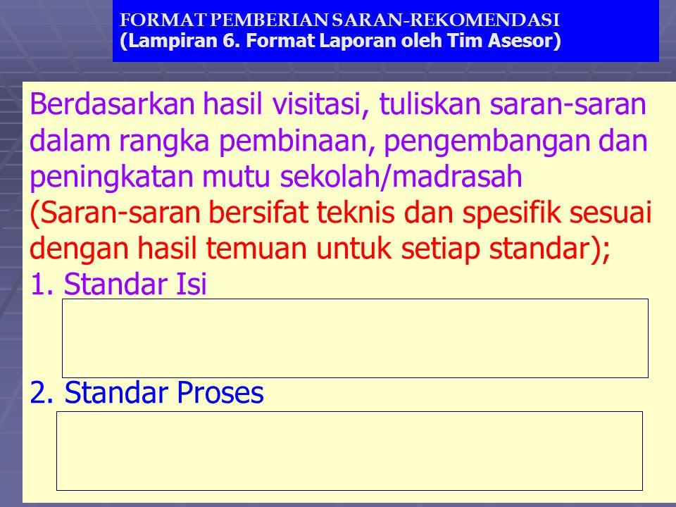 www.ban-sm.or.id FORMAT PEMBERIAN SARAN-REKOMENDASI (Lampiran 6. Format Laporan oleh Tim Asesor) Berdasarkan hasil visitasi, tuliskan saran-saran dala