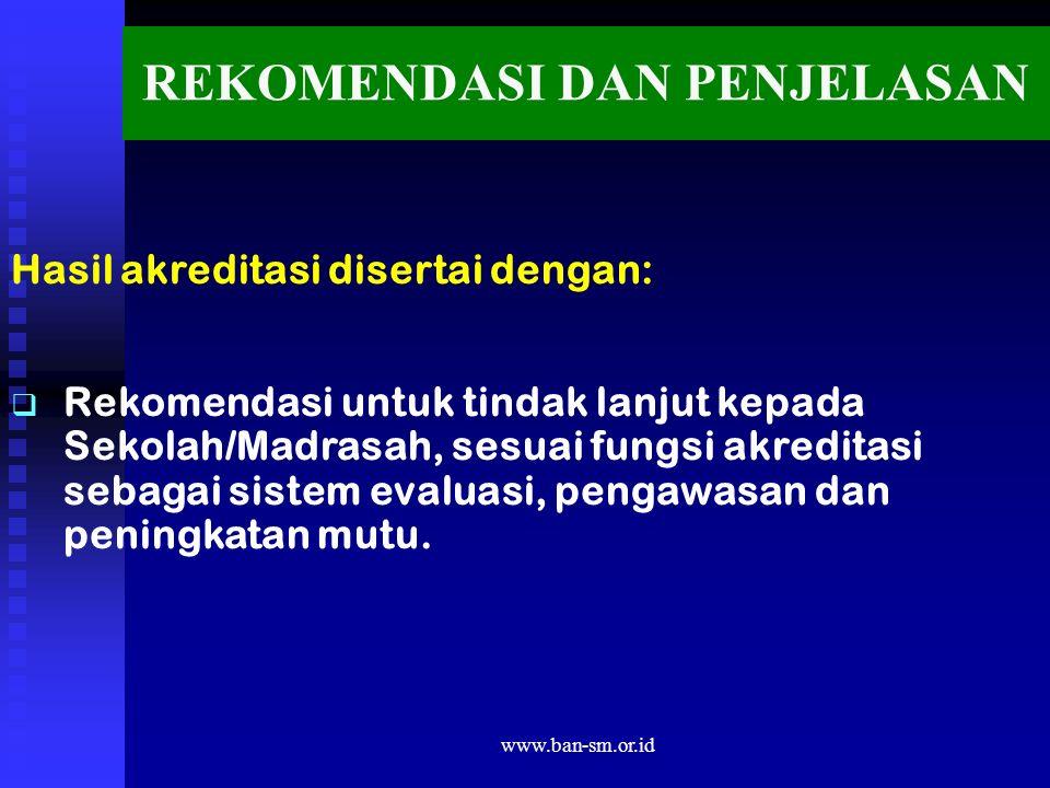 www.ban-sm.or.id REKOMENDASI DAN PENJELASAN Hasil akreditasi disertai dengan:   Rekomendasi untuk tindak lanjut kepada Sekolah/Madrasah, sesuai fungsi akreditasi sebagai sistem evaluasi, pengawasan dan peningkatan mutu.