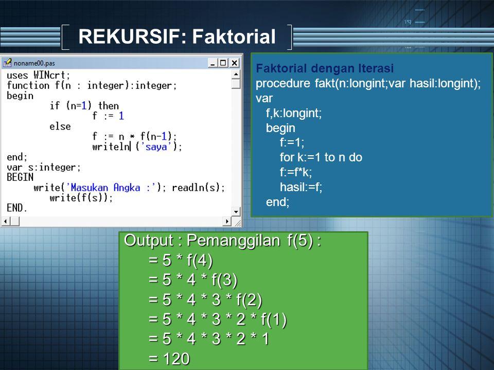 REKURSIF: Faktorial Output : Pemanggilan f(5) : = 5 * f(4) = 5 * 4 * f(3) = 5 * 4 * 3 * f(2) = 5 * 4 * 3 * 2 * f(1) = 5 * 4 * 3 * 2 * 1 = 120 Faktorial dengan Iterasi procedure fakt(n:longint;var hasil:longint); var f,k:longint; begin f:=1; for k:=1 to n do f:=f*k; hasil:=f; end;