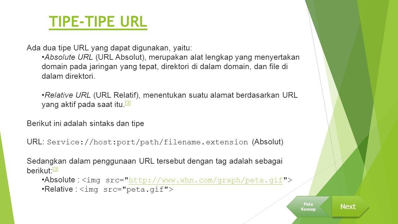 TIPE-TIPE URL Ada dua tipe URL yang dapat digunakan, yaitu: Absolute URL (URL Absolut), merupakan alat lengkap yang menyertakan domain pada jaringan y