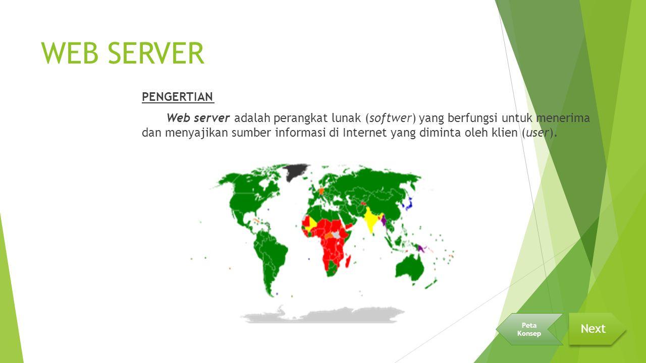 WEB SERVER PENGERTIAN Web server adalah perangkat lunak (softwer) yang berfungsi untuk menerima dan menyajikan sumber informasi di Internet yang diminta oleh klien (user).