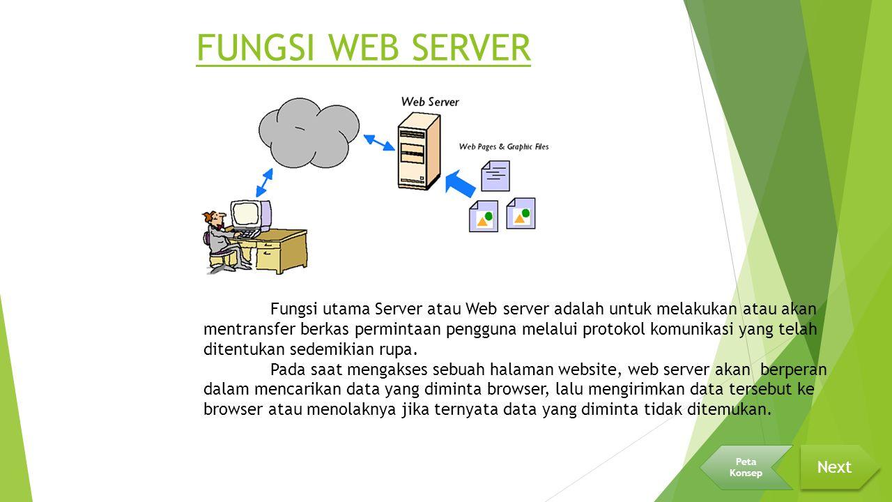 FUNGSI WEB SERVER Fungsi utama Server atau Web server adalah untuk melakukan atau akan mentransfer berkas permintaan pengguna melalui protokol komunikasi yang telah ditentukan sedemikian rupa.