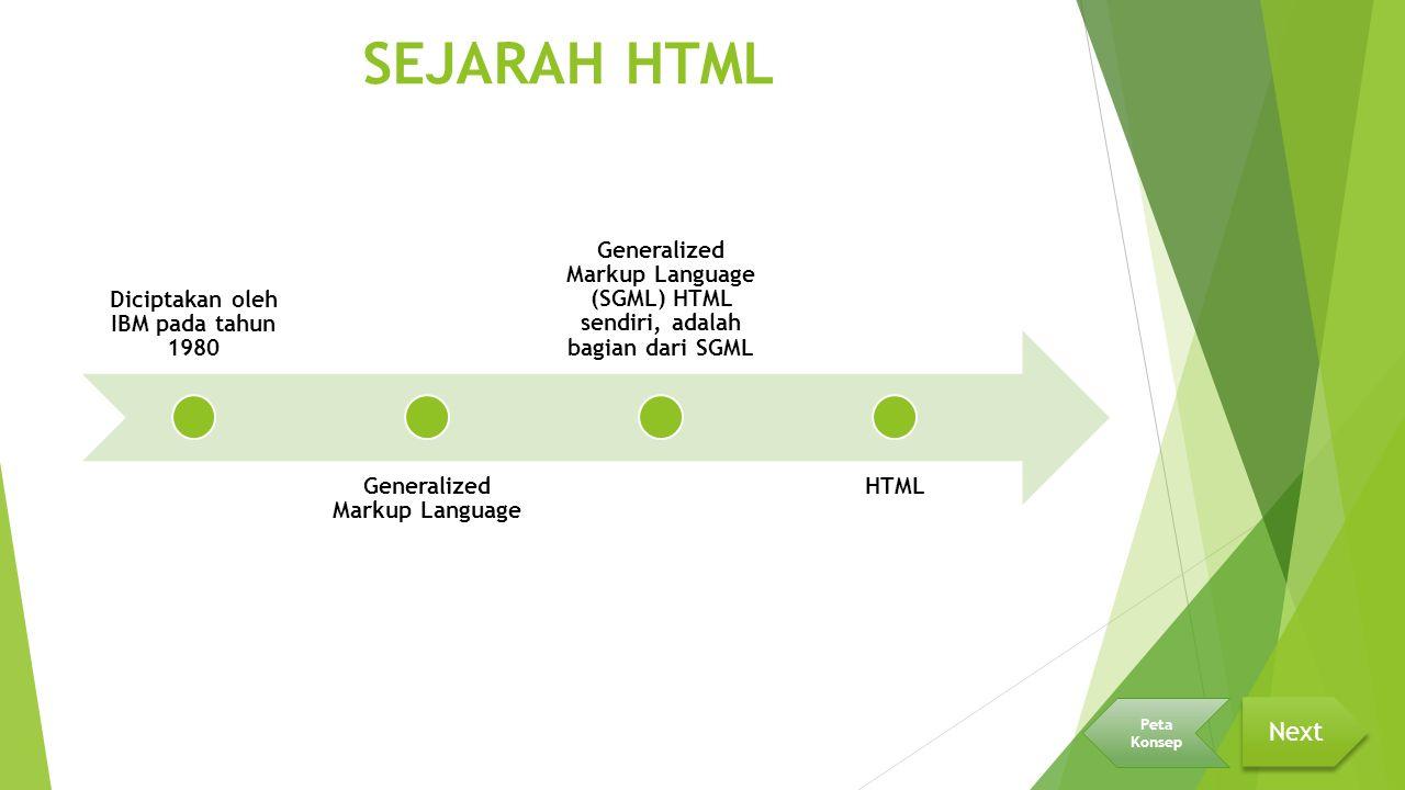 SEJARAH HTML Diciptakan oleh IBM pada tahun 1980 Generalized Markup Language Generalized Markup Language (SGML) HTML sendiri, adalah bagian dari SGML HTML Next Peta Konsep