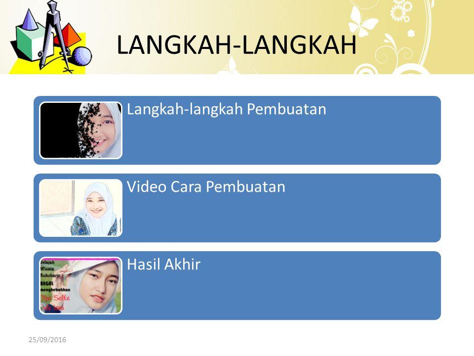 LANGKAH-LANGKAH Langkah-langkah Pembuatan Video Cara Pembuatan Hasil Akhir 25/09/2016