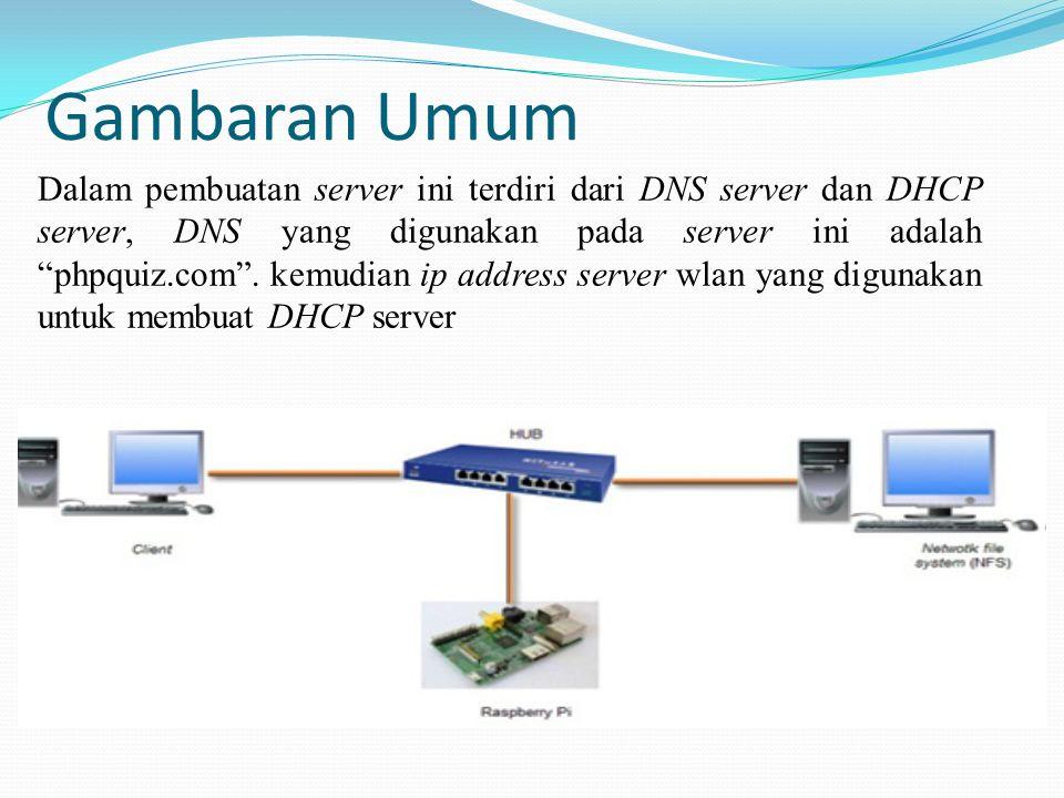 """Gambaran Umum Dalam pembuatan server ini terdiri dari DNS server dan DHCP server, DNS yang digunakan pada server ini adalah """"phpquiz.com"""". kemudian ip"""