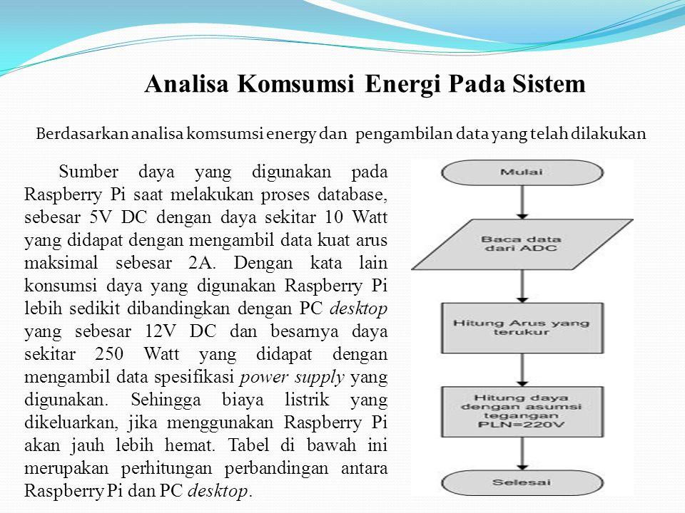 Analisa Komsumsi Energi Pada Sistem Berdasarkan analisa komsumsi energy dan pengambilan data yang telah dilakukan Sumber daya yang digunakan pada Raspberry Pi saat melakukan proses database, sebesar 5V DC dengan daya sekitar 10 Watt yang didapat dengan mengambil data kuat arus maksimal sebesar 2A.
