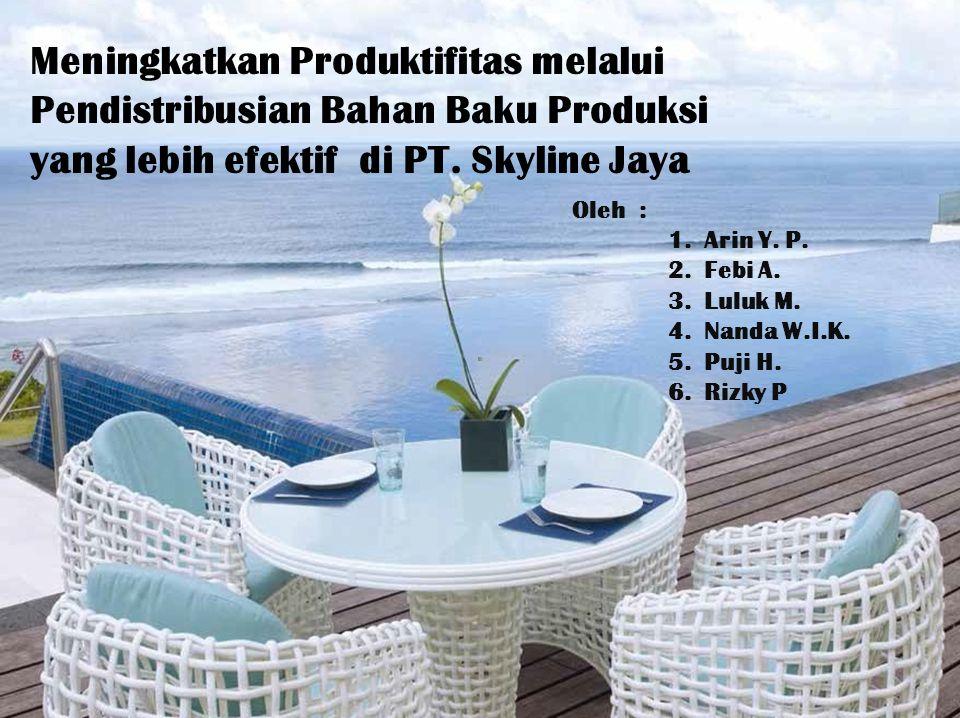 Meningkatkan Produktifitas melalui Pendistribusian Bahan Baku Produksi yang lebih efektif di PT. Skyline Jaya Oleh : 1.Arin Y. P. 2.Febi A. 3.Luluk M.
