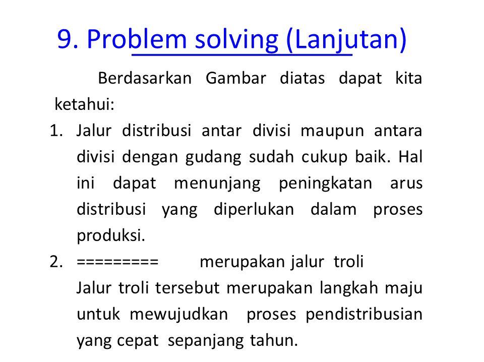 9. Problem solving (Lanjutan) Berdasarkan Gambar diatas dapat kita ketahui: 1.Jalur distribusi antar divisi maupun antara divisi dengan gudang sudah c