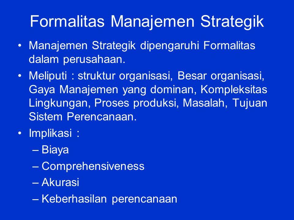 Formalitas Manajemen Strategik Manajemen Strategik dipengaruhi Formalitas dalam perusahaan.