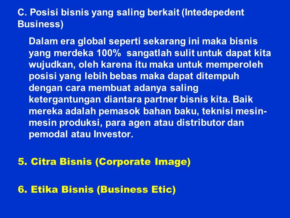C. Posisi bisnis yang saling berkait (Intedepedent Business) Dalam era global seperti sekarang ini maka bisnis yang merdeka 100% sangatlah sulit untuk