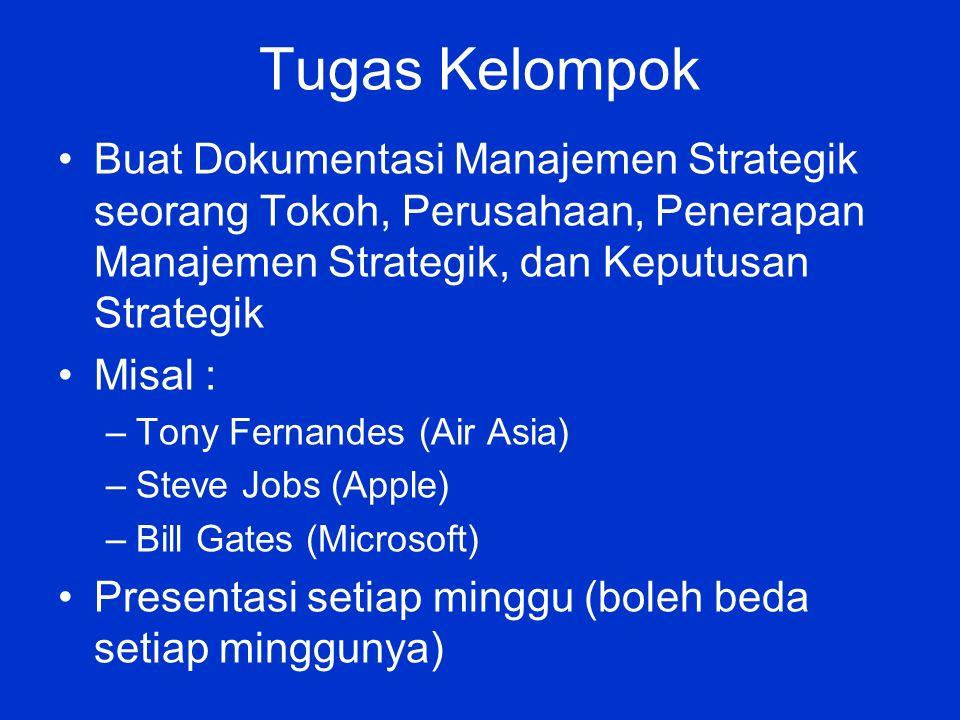 Tugas Kelompok Buat Dokumentasi Manajemen Strategik seorang Tokoh, Perusahaan, Penerapan Manajemen Strategik, dan Keputusan Strategik Misal : –Tony Fernandes (Air Asia) –Steve Jobs (Apple) –Bill Gates (Microsoft) Presentasi setiap minggu (boleh beda setiap minggunya)