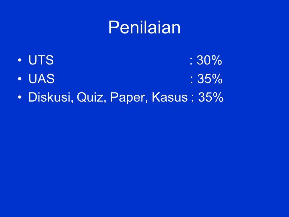 Penilaian UTS : 30% UAS : 35% Diskusi, Quiz, Paper, Kasus : 35%