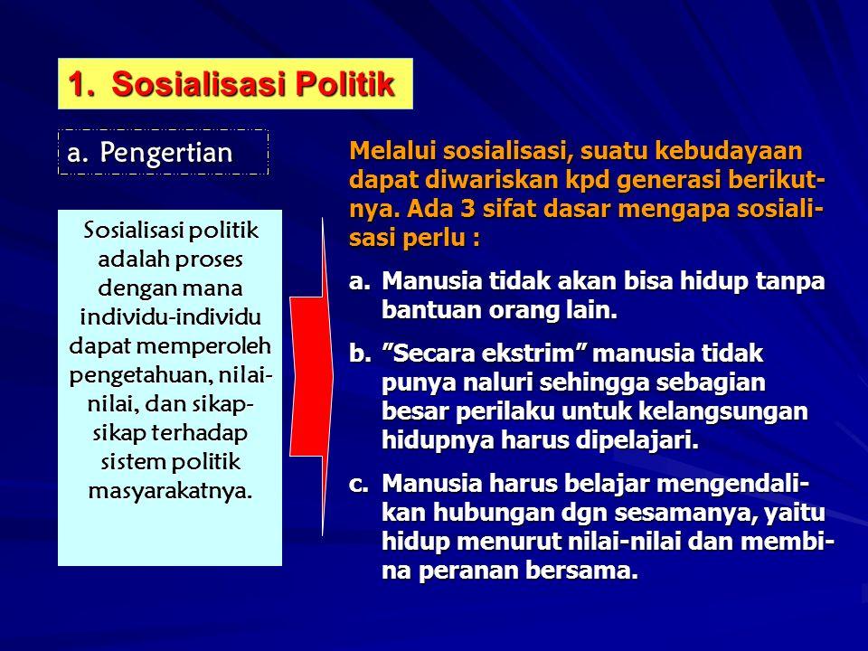 1.Sosialisasi Politik a.Pengertian Sosialisasi politik adalah proses dengan mana individu-individu dapat memperoleh pengetahuan, nilai- nilai, dan sikap- sikap terhadap sistem politik masyarakatnya.