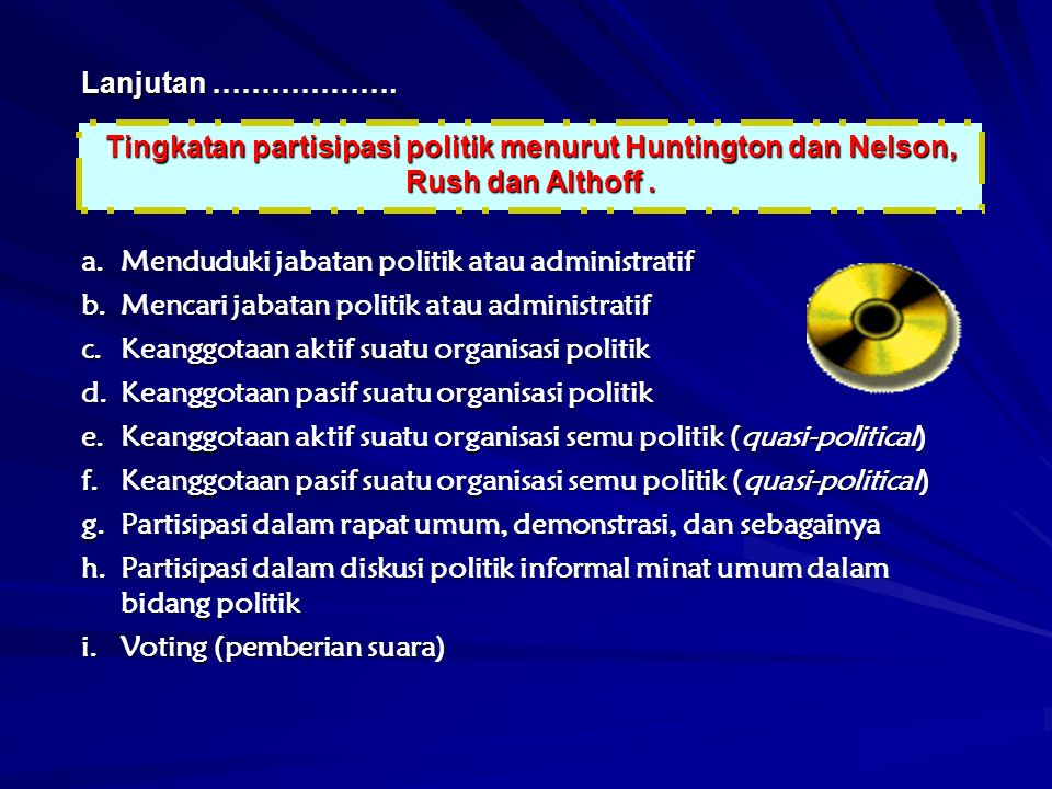 Lanjutan ………………. Tingkatan partisipasi politik menurut Huntington dan Nelson, Rush dan Althoff.