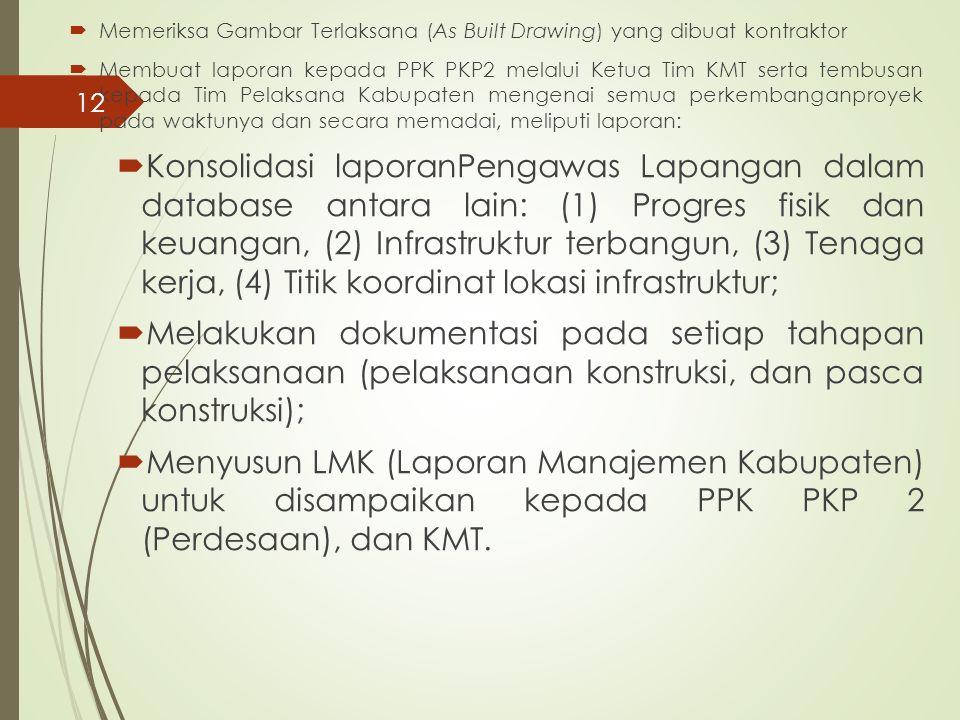  Memeriksa Gambar Terlaksana (As Built Drawing) yang dibuat kontraktor  Membuat laporan kepada PPK PKP2 melalui Ketua Tim KMT serta tembusan kepada