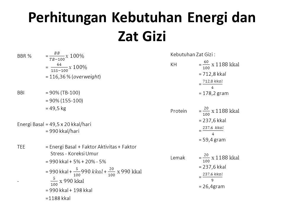 Perhitungan Kebutuhan Energi dan Zat Gizi