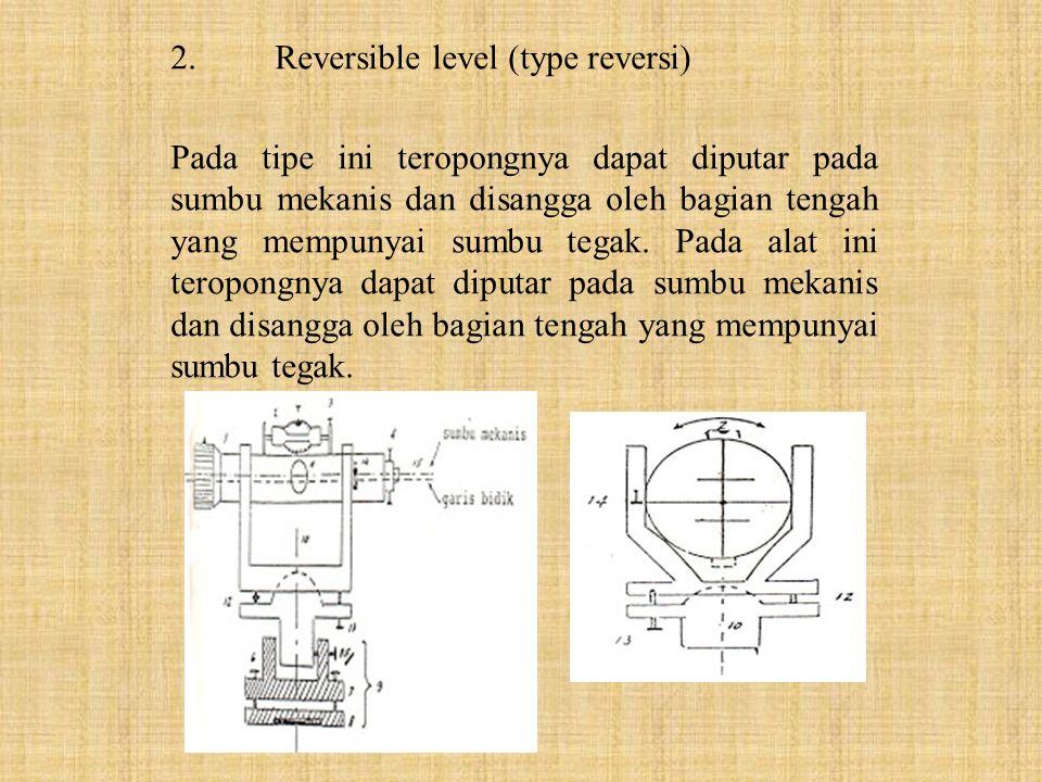 3.Tilting level (type jungkit) Pada tipe ini sumbu tegak dan teropong dihubungkan dengan engsel dan skrup pengungkit.Berbeda dengan tipe reversi, pada tipe ini teropong dapat diungkit dengan skrup pengungkit.