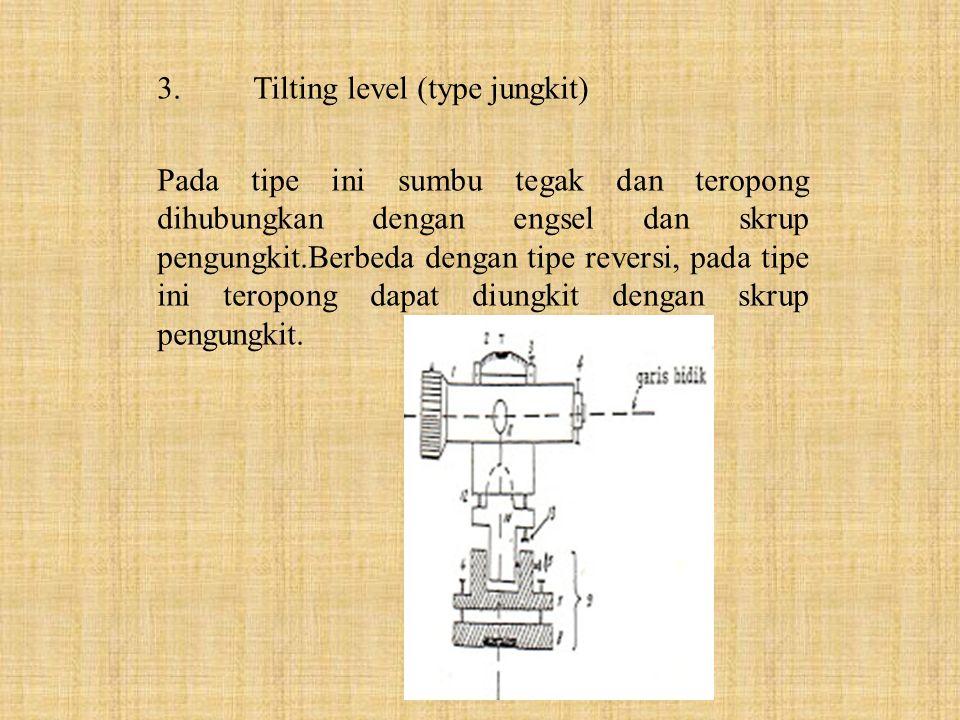 3.Tilting level (type jungkit) Pada tipe ini sumbu tegak dan teropong dihubungkan dengan engsel dan skrup pengungkit.Berbeda dengan tipe reversi, pada
