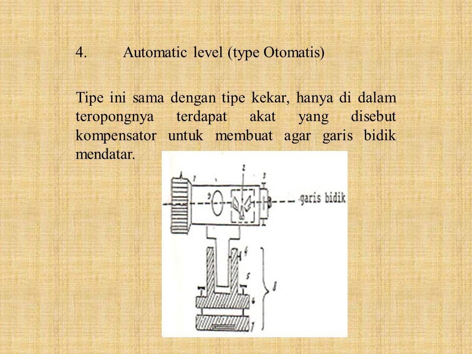 4.Automatic level (type Otomatis) Tipe ini sama dengan tipe kekar, hanya di dalam teropongnya terdapat akat yang disebut kompensator untuk membuat aga