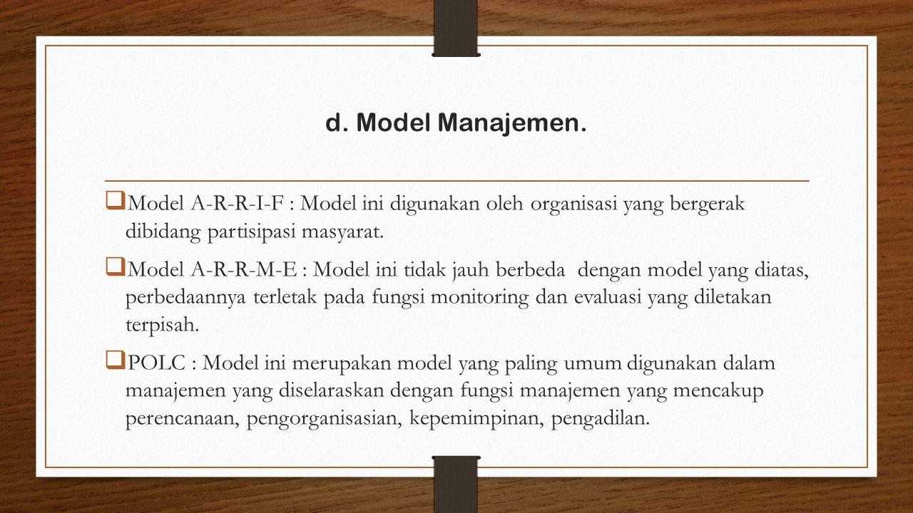  Model A-R-R-I-F : Model ini digunakan oleh organisasi yang bergerak dibidang partisipasi masyarat.