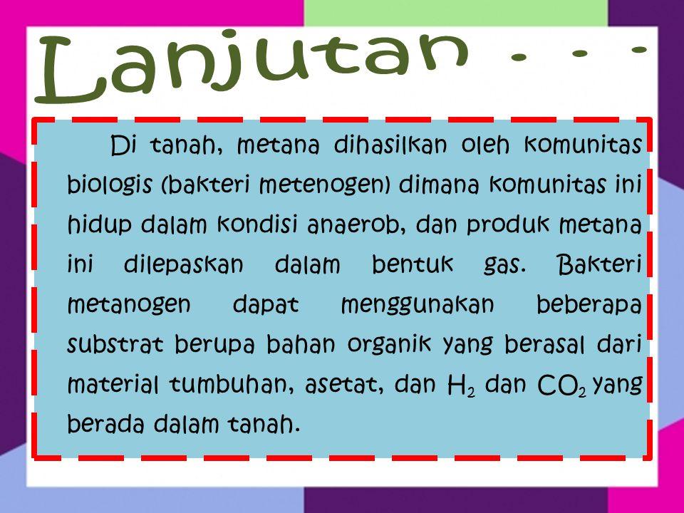 Di tanah, metana dihasilkan oleh komunitas biologis (bakteri metenogen) dimana komunitas ini hidup dalam kondisi anaerob, dan produk metana ini dilepaskan dalam bentuk gas.