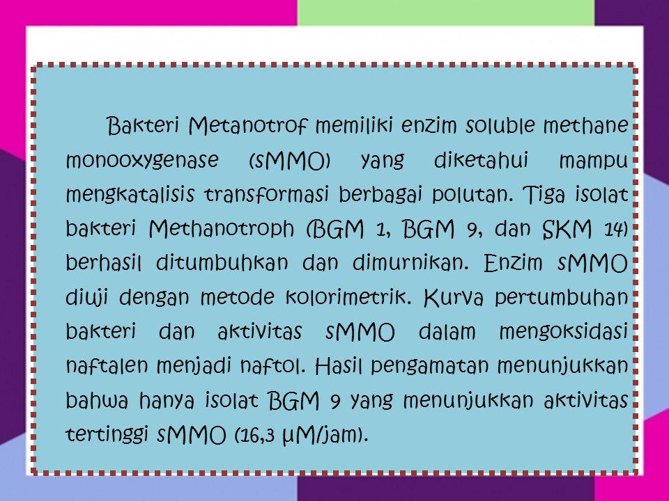 Peranan Bakteri Methanotroph Informasi tentang aspek mikrobiologi komunitas bakteri baik jenis, aktivitas dan dominasi bakteri Metanotrof yang berperan penting dalam menurunkan emisi gas rumah kaca CH4 pada lahan sawah di Indonesia.