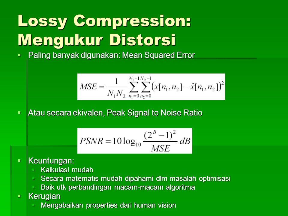 Lossy Compression: Mengukur Distorsi  Paling banyak digunakan: Mean Squared Error  Atau secara ekivalen, Peak Signal to Noise Ratio  Keuntungan:  Kalkulasi mudah  Secara matematis mudah dipahami dlm masalah optimisasi  Baik utk perbandingan macam-macam algoritma  Kerugian  Mengabaikan properties dari human vision