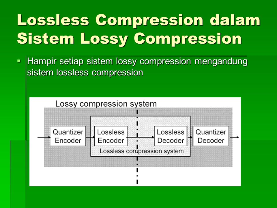 Lossless Compression dalam Sistem Lossy Compression  Hampir setiap sistem lossy compression mengandung sistem lossless compression