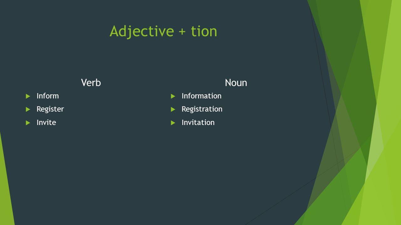 Berakhiran (-sion) Verb  Discuss  Decide  Permit Noun  Discussion  Decition  Permission