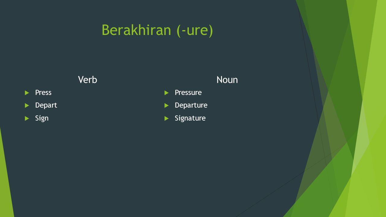 Berakhiran (-ure) Verb  Press  Depart  Sign Noun  Pressure  Departure  Signature