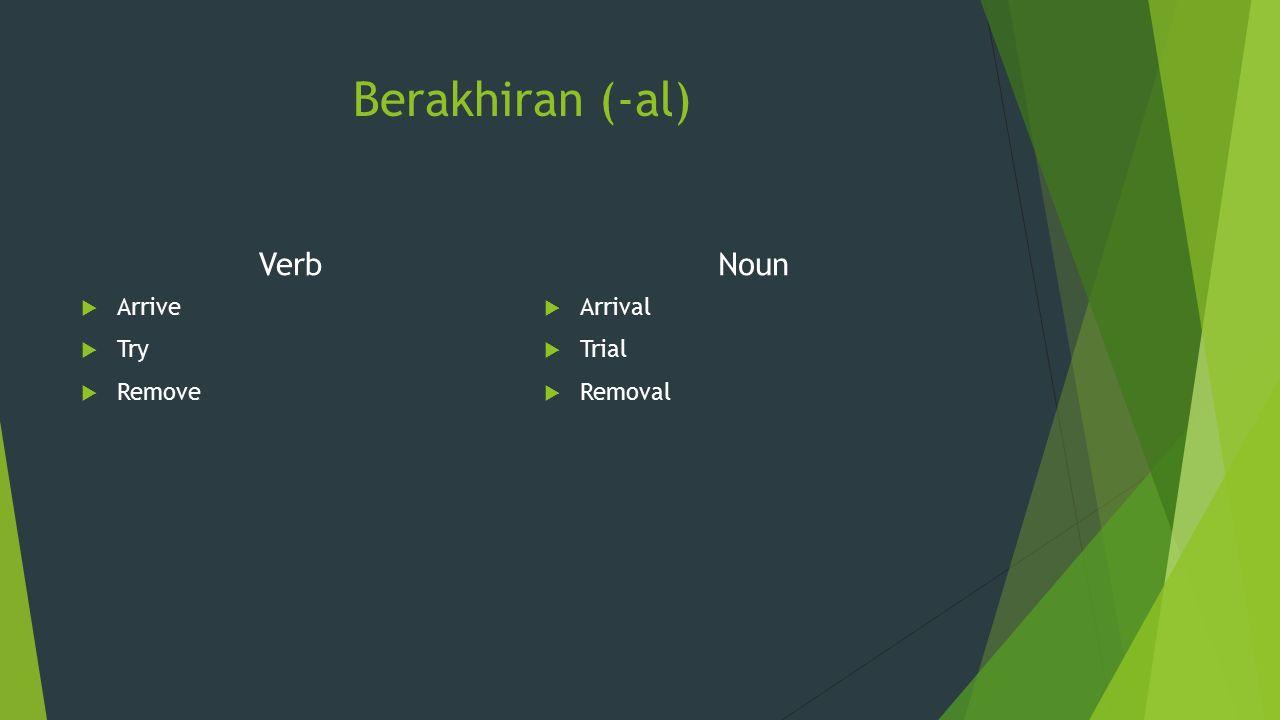 Berakhiran (-al) Verb  Arrive  Try  Remove Noun  Arrival  Trial  Removal