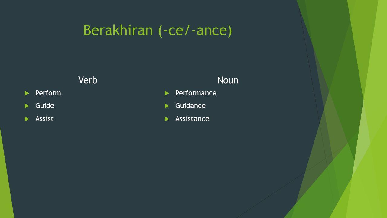 Berakhiran (-ess) Verb  Succeed  Proceed  Exoced Noun  Success  Process  Excess