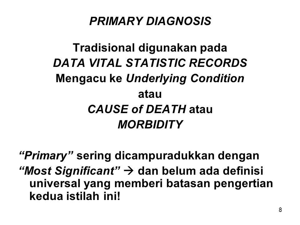9 PRINCIPAL and Other Diagnosis M.B.D.S lebih condong menggunakan: Principal dan Other dengan tujuan utama: untuk menjelaskan EPISODE PERAWATAN RUMAH SAKIT juga Additional lebih disukai daripada Secondary  ini tidak memberi kesan seolah ada diagnoses yang kurang penting secara klinis.