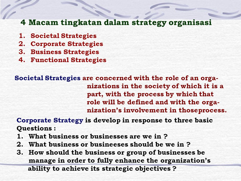 Definisi Strategic Planning is the process of determining an organization's basic mission and long-term objectives and then implementing a plan of action for accomplishing the mission and attaining the objectives.