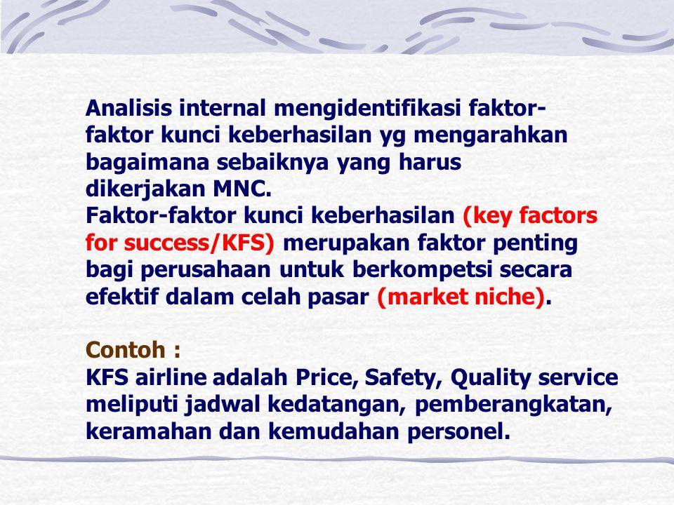 Analisis internal mengidentifikasi faktor- faktor kunci keberhasilan yg mengarahkan bagaimana sebaiknya yang harus dikerjakan MNC.