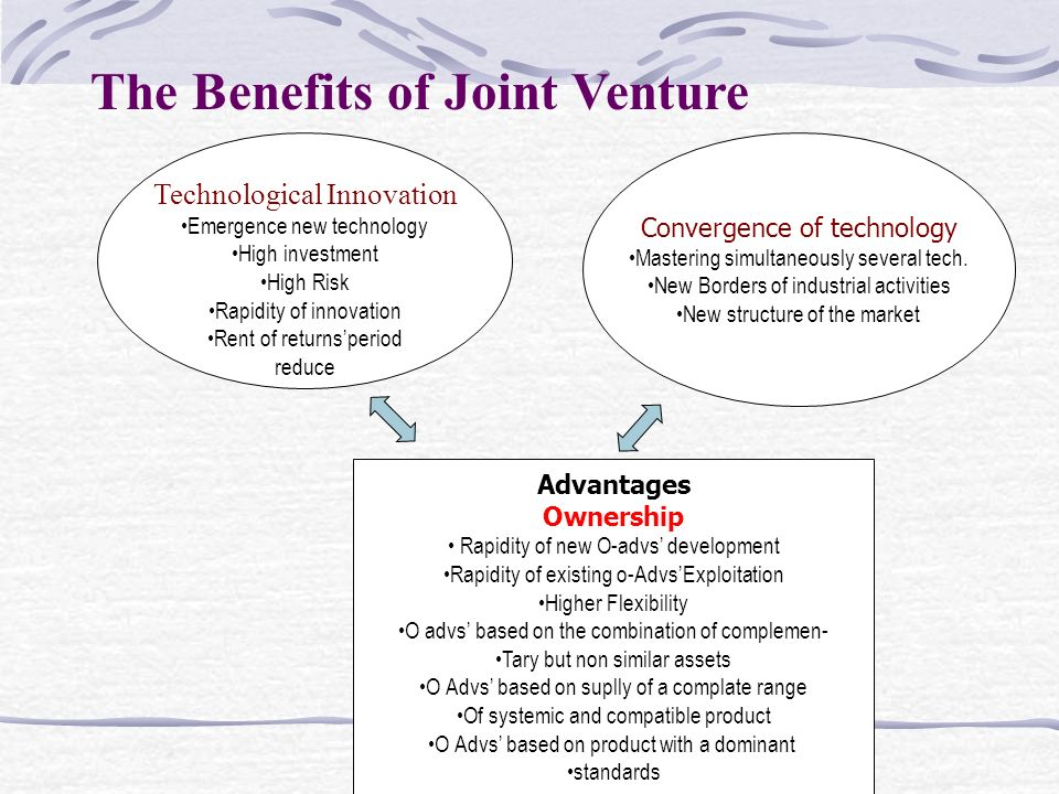 The Benefits of Joint Venture Technological Innovation Emergence new technology High investment High Risk Rapidity of innovation Rent of returns'period reduce Convergence of technology Mastering simultaneously several tech.
