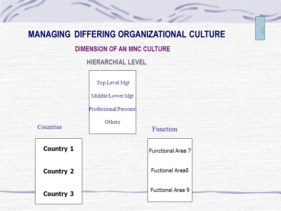 MANAGING DIFFERING ORGANIZATIONAL CULTURE DIMENSION OF AN MNC CULTURE HIERARCHIAL LEVEL Top Level Mgt Middle/Lower Mgt Professional Personel Others Country 1 Country 2 Country 3 Functional Area 7 Fuctional Area8 Fuctional Area 9 Countries Function