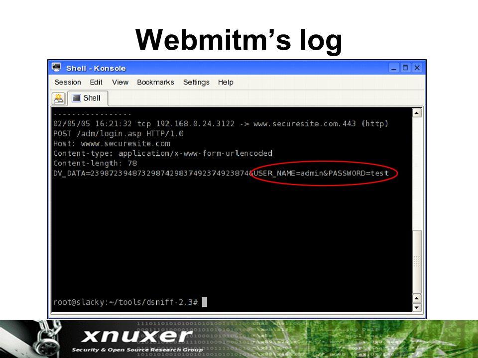 Webmitm's log
